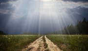 Rural road and the god ray