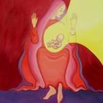 Maie dans l'attente de la naissance de jésus