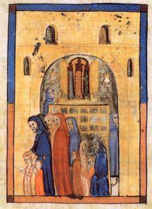 Splendide enluminure d'une Haggadah de Barcelone (14e siècle) montrant la douceur de la prière