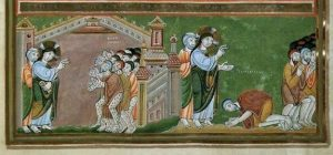 La guérison des dix lépreux. Codex-aureus-dechternach-vers-1030-musee-national-allemand-de-nuremberg