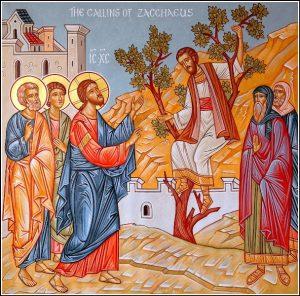 Icône de Zachée appelé par le Christ et descendant du Sycomore