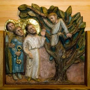 (Jésus rencontrant Zachée, détail du polyptique de ND des Neiges)